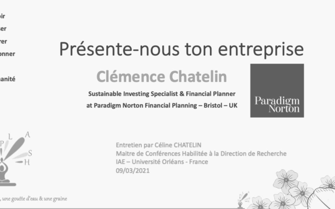Présente-nous ton entreprise : Clémence CHATELIN NORTON Paradigm Céline Chatelin universtité Orléans